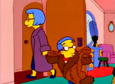 Milhouse: Ta-ta! I'm off to the beauty salon! - S08E06, 'A Milhouse Divided'