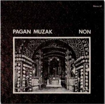 "Pagan Muzak is a landmark industrial-noise 7"" vinyl released by NON.  The release was pressed with 17 tracks of locked grooves and includes  an off center hole drilled for an alternate method of play.  The album was first pressed in 1978 via Graybeat Records.  This pressing was a 7"" record housed in a 12"" sleeve containing 17  tracks on side A, with side B blank. In 1981, Graybeat Records repressed  the record, however both side A and B of the record now included the  same 17 tracks. On 1999 September 27, The Grey Area re-pressed the album in an identical manner to the first pressing, with side B blank, and only a standard single center hole."