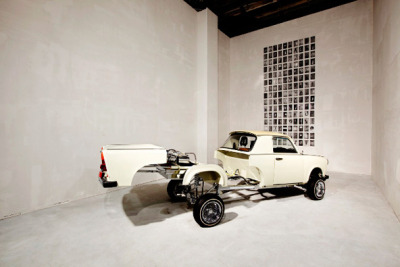 "Trabantimino, The Amazing Collapsible Family Muscle Car - ""The car is part Trabant, the VW of Soviet East Germany, as extinct now as the Berlin Wall. Its other half derives from a 1973 Chevy El Camino, the sporty two-seater that was part muscle car and part flatbed pickup. By flipping switches on the Trabantimino's center console, a driver can extend the car's squat body to the length of an El Camino. Flip another set of switches and the rear wheels rise to a height that would make a lowrider proud. Another pair elevates the car's snub nose to a level that would hide any road in front of it."""