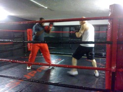 Here's James Sey, doing pad work with Anderson Kazembe, the brilliant coach from Malawi.