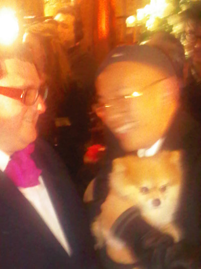 Kevin Saer with Change and Alber Elbaz at Lanvin x H&M fashion show preview at the Pierre Hotel