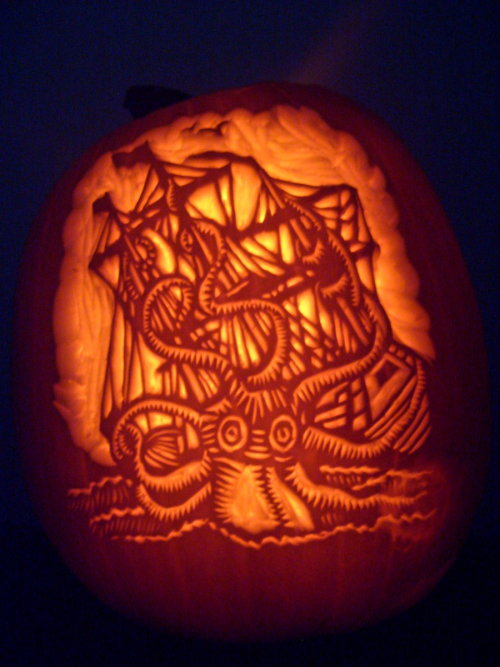 Kraken-o-lantern by ~NParten is one of the winners from deviantART's Halloween Carving Contest! Congrats!  These three winners will receive a custom pumpkin trophy, 1 deviantWEAR hoodie and shirt (subject to availability), 8,000 deviantART Points, complete Emoticon Stress Balls Set, 1 year Premium Membership, dA glow-in-the-dark lanyard, and deviantART stickers! View the rest of the winners and the runner ups