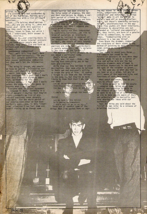 The Pop Group. Interviewed in Zig Zag #83, April 1978. Part 2.