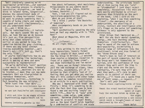 The Pop Group. Interviewed in Zig Zag #83, April 1978. Part 3.