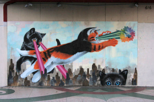 laughingsquid:  Awesome Laser Cat Mural in San Francisco