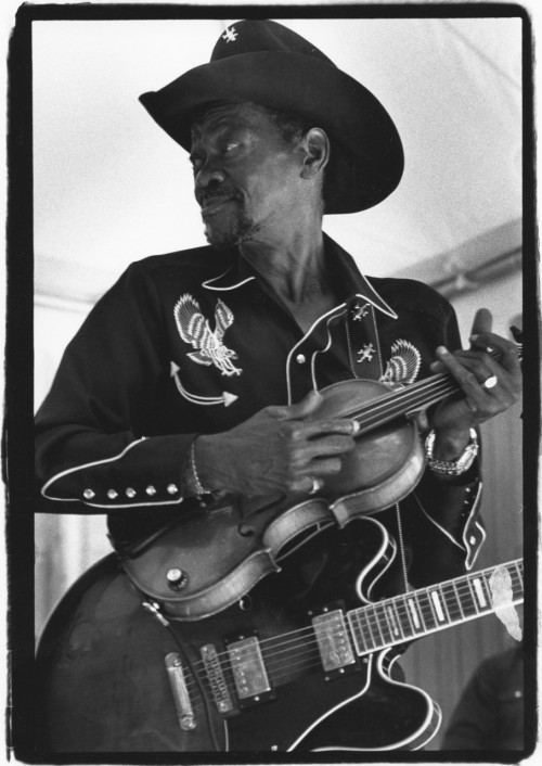 "144) Clarence ""Gatemouth"" Brown (April 18, 1924 - September 10, 2005) probably at Wolf Trap, Virginia. He had lost his Slidell, Louisiana home to Hurricane Katrina so he returned to his hometown of Orange, Texas where he would later die of lung and heart disease. photo (c) Alan Strauber (all rights reserved) 11.19.10"
