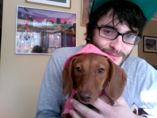 My hipster puppy and I.
