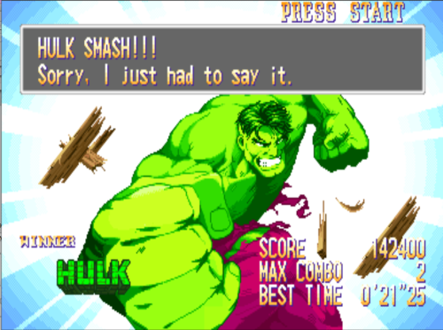 bison2winquote:  - The Incredible Hulk, Marvel Super Heroes (Capcom)