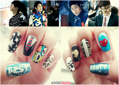 "BEAST's ""Beautiful"" inspired nails :D Hyunseung's leopard print was the easiest to do lololol but I had a hard time with Junhyung's star sweater. I left out Dongwoon's. I'm horrible, I know 8(Btw just wanna credit Katrina because she inspired me to do this :D Check hers out!"