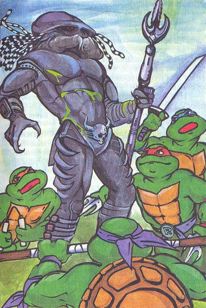Ninja Turtles vs. a Predator. Via Monster Brains, where there's a full gallery of insane art from Russian Teenage Mutant Ninja Turtles books.