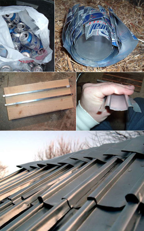 "DIY recycling and roofing for beer drinkers - Core77:  Biotech worker and tinkerer Billy Robb has made recycling very visible. ""In Kansas here we're like a decade or two behind in recycling [incentives],"" he writes, so he's taken matters into his own hands. Robb took what I can only call a buttload of aluminum cans, cut them into sheets, made his own die, smashed them into corrugated tile shapes, and used it to roof a chicken coop!"