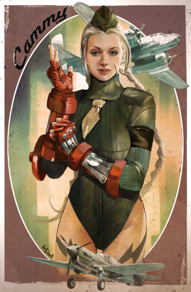 "justinrampage:  Cammy, from Street Fighter, got a 1950's pinup redesign courtesy of Daniel ""Vendrell"" Oduber. The classic aircraft really tie the piece together. 50's CAMMY by Daniel Vendrell Oduber (deviantART)  (Blog)"