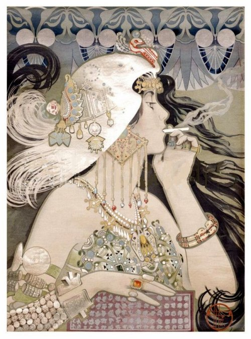 my-ear-trumpet:  Manuel ORAZI (1860-1934) Poster for Job Cigarette Paper  (HT Vintage Blog)  Makes me want a smoke:
