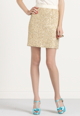 Be Dazzled Kylie Skirt, $395 at Kate Spade. Tweed + grosgrain + sequins… what could be better?  Well, maybe a lower price tag.