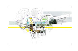 architorture:  for fun. collage using plans and found images of archery plan by enric miralles.
