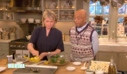 Russell Simmons, who's totally the man, was on the Martha Stewart Show last Tuesday and they made vegan kamut berry pilaf with butternut squash and cauliflower. Butternut squash and cauliflower sound hella good together! I will say it now: I love Martha Stewart. Always have. So I especially love when she does vegan stuff. I love Russell Simmons too, though isn't he a bit strange? And he says he hates vinegar; who hates vinegar?! Vinegar rules. I was even on the Bragg apple cider vinegar diet once! Well I don't know if it was a diet, I just drank the stuff, like, a lot. I guess by those standards, I've been on a beer diet for quite some time! I must say, it's doing wonders! Watch the clip and find the recipe on Martha's site.