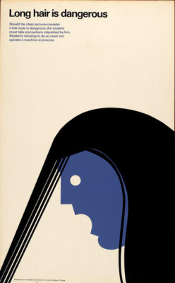 Long hair is dangerous Poster by Tom Eckersley (1990). Found here.