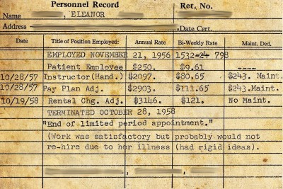 "Patient Employee, terminated October 28, 1958: ""'End of limited period appointment.' (Work was satisfactory but would probably not re-hire due to her illness (had rigid ideas)."""
