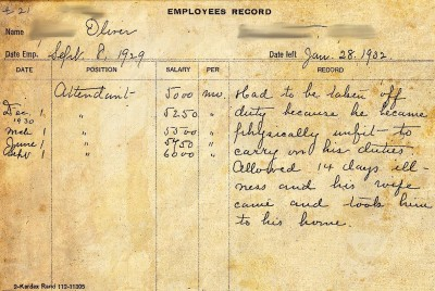 "Attendant, terminated Jan. 28, 1932: ""Had to be taken off duty because he became physically unfit to carry on his duties.  Allowed 14 days illness and his wife came and took him to his home."""