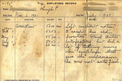 "Attendant, terminated July 1, 1933: ""Left without notice to accept his old position. Ward duties satisfactory, but did a lot of talking among other employees that gave the impression he was not satisfied."""