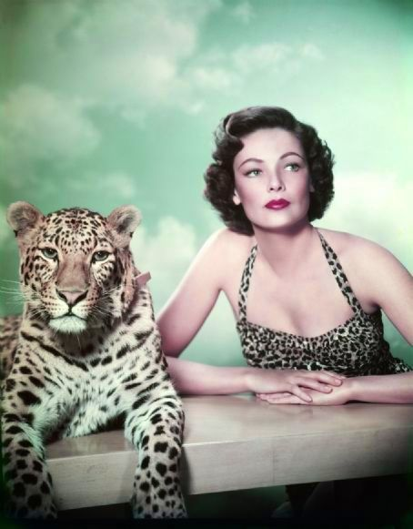 Gene Tierney and a cute friend c. 1940s