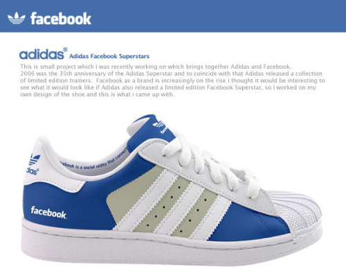 Adidas Facebook Superstars. Y Adidas Twitter Superstars.  Vía | Béhance
