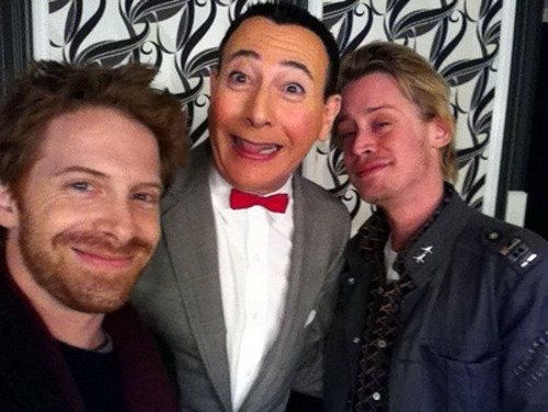 "coketalk:  Seth Green and Macaulay Culkin hang out with Pee-wee Herman after The Pee-wee Herman Show on Broadway. Just so you know, I would totally watch a ""Home Alone"" redux with Pee Wee Herman playing Macaulay Culkin's former child character, and this time, for an ironic twist, Macaulay himself would play one of the burglars along with perennial sidekick Seth Green. Honestly, it wouldn't be any more of a clusterfuck than what Hollywood regularly does to our childhood.  i don't even care about the picture; i just love this woman. seriously? best ever."