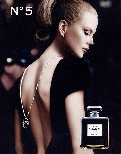 Chanel - No. 5 Nicole Kidman, black dress, open back