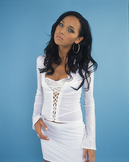 Alsou, a Tatar Russian Muslim singer, models garb from J-WOWW's fall fashion line.