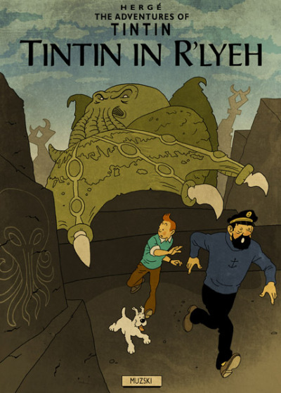 Herge and Lovecraft (Tintin meets Cthulhu) by Murray Groat