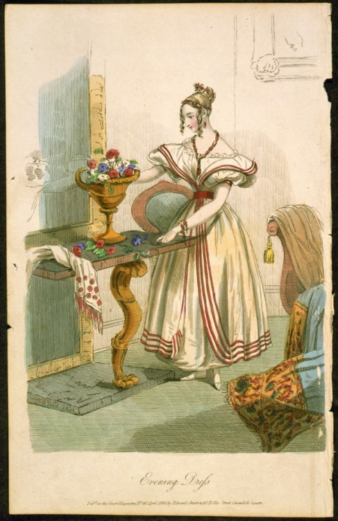 Evening dress originally published in Court magazine no. 46, April 1836.
