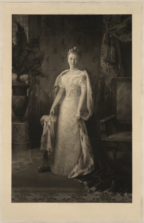 Wilhelmina, Queen of the Netherlands (1880-1962) upon her coronation at the age of 18 on September 6, 1898.