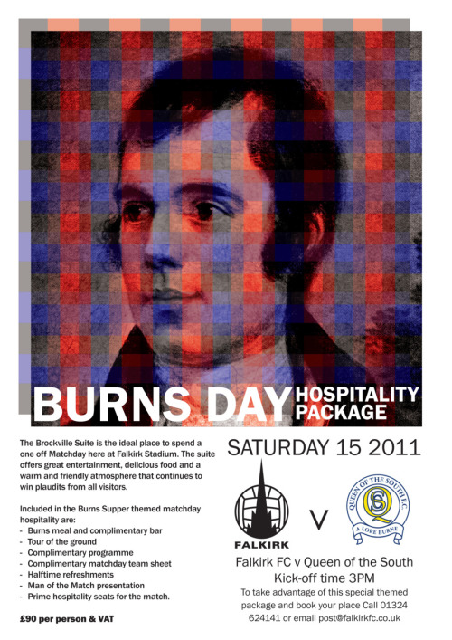 Burns Supper poster for Falkirk FC. Has not been used by club and was designed by me.