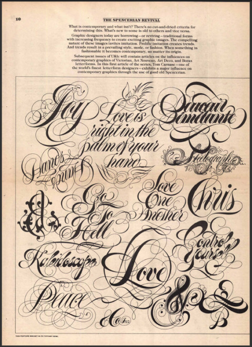 U&lc - Classic design magazine curated by Herb Lubalin. Get to know it.  Oh and read the text on the page. It's extremely interesting.