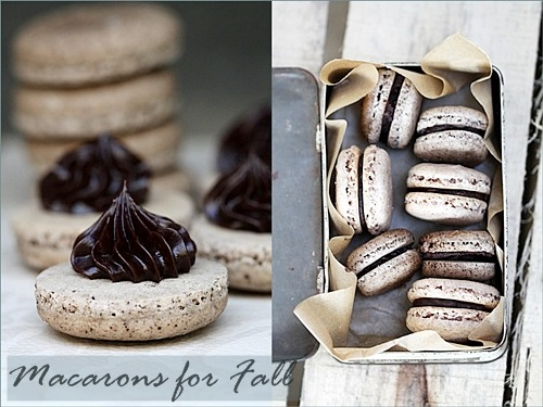 mybluesapphire:  boyfriendreplacement:  Coffee Macarons & Pumpkin Pie Spice Macarons with Dark Chocolate Ganache  Come to Singapore!