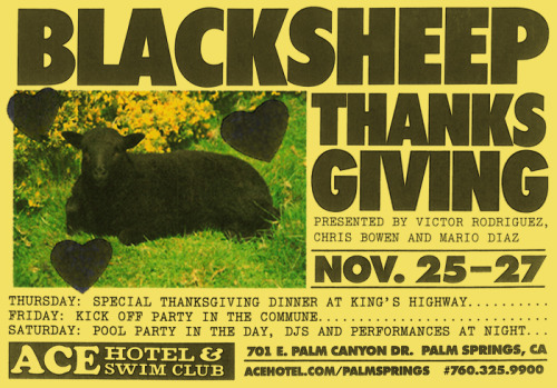 We're having a Black Sheep Thanksgiving feast and some pool parties and performances this week and weekend at Ace Hotel Palm Springs. See the full menu and lineup on our calendar.