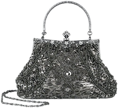Seed Bead Sequined Leaf Evening Handbag