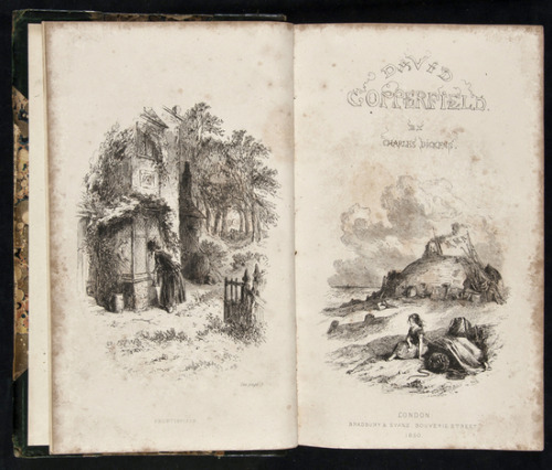 "The Personal History of David Copperfield Charles Dickens. 1850.  First edition, first issue, in book form bound from the original parts, engraved frontispiece, additional title and 38 plates by Hablot K. Browne.  B-A Note:  Copperfield was originally published in serial form from May 1849 - November 1850. If I'm interpreting the auction text correctly, this is a collection of the original individual publications bound together into a book form.  Beautiful drawings by ""Phiz"" aka Hablot Knight Brown."