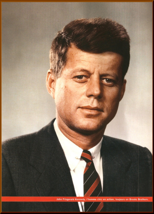 Young Senator Kennedy in color.