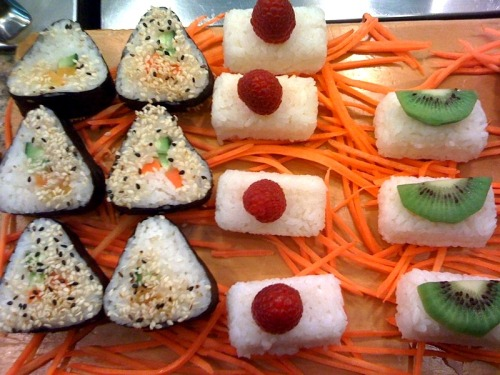 Vegan sushi, why what a delightful brunch! These little gems come from Pepper Tree in Houston, Texas, and I do believe a person could eat 50 of them in one sitting, they look so light and fresh and tasty. Now what would you drink at fruit-and-vegetable-sushi brunch: shōchū cocktails? Um, yes. OK, field trip to Houston! [photo by laceygerard]