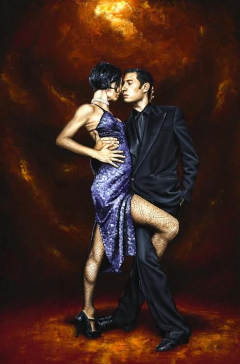 Held in Tango - Original oil painting produced on stretched 91cm x 61cm canvas using a knife, mixing only on the canvas using a limited colour palette. There's many more figurative, dance and portrait fine art original oil paintings, pastels and gicleé prints on my website: www.ryoung-art.com