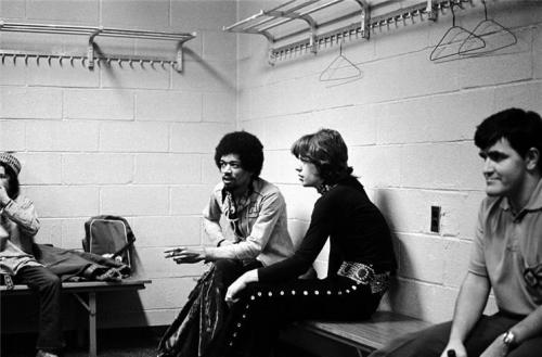 Jimi Hendrix Hanging Out With The Rolling Stones, Madison Square Garden, NYC, 1969