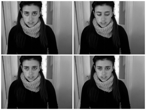 "Sometimes, I don't know when my photobooth is taking the 1.2.3.4. photos because I turned off the ""flash"". This is a result.  Also, I made the cowl scarf around my neck a couple nights ago. I love it."