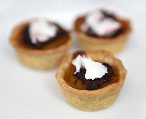 Pumpkin Chipotle Tartelettes with Beetroot Jam & Chevre YUM!