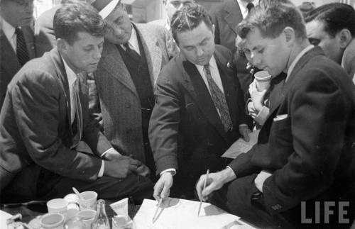 Jack and Bobby in 1952 whilst mapping out JFK's bid for the Massachusetts Senate seat.