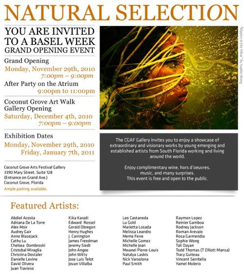 "I have the honor of participating in this huge group show during Art Basel! Check it out! NWSA alumni and participants of Young Blood exhibitions will present work in ""Natural Selection"" ""Natural Selection"" is a must-see event at the Coconut Grove Arts Festival Gallery (CGAF) during Art Basel week in Miami! It is a showcase of extraordinary and visionary work by young emerging and established artists working and living around the world. Featuring work by New World School of the Arts (NWSA) high school and college alumni, we are proud to say that a great number of artists who have exhibited in previous Young Blood exhibitions are taking part in ""Natural Selection"". The exhibit is curated by artist and former New World School of the Arts teacher Jim Hunter and assistant Nick Varsalona (NWSA 04'). Lilia Garcia, the chairperson of the CGAF gallery and member of the Board of Directors for the Coconut Grove Arts Festival, also took part in co-curating this large group exhibition. Come and enjoy this wonderful Art Basel Grand Opening Event! Kick-Off Reception: Monday, November 29th, 2010 7pm to 9pm. After Party on the Atrium 9pm to 11pm Coconut Grove Art Walk Opening: Saturday, December 4th, 2010 7pm to 9pm Exhibition on view from Monday, November 29th through Friday, January 7th, 2010. CGAF Gallery 3390 Mary Street, Suite 128 (Entrance on Grand Ave.) Coconut Grove, Florida RSVP on the Facebook event here! Check out ""Natural Selection"" featured on the site for the famous annual Coconut Grove Arts Festival Thanks to SoulofMiami.org for featuring this show on their Art Basel 2010 list of events! Check out the invite on the site for the Coconut Grove Chamber of Commerce -Written by Michelle Gomez. For more information on Young Blood; the annual NWSA Alumni exhibition directed by Michelle Gomez, please visit www.youngbloodnwsa.wordpress.com"