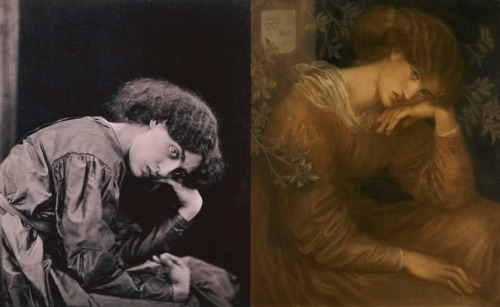 Jane Morris, 1865 (Left); Reverie by Rossetti, 1868 (Right)