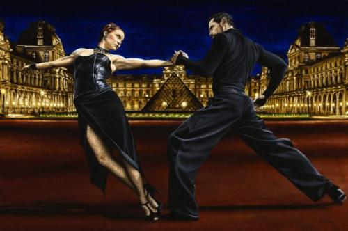Last Tango in Paris - Original oil painting produced on stretched 91cm x 61cm canvas using a knife, mixing only on the canvas using a limited colour palette. There's many more figurative, dance and portrait fine art original oil paintings, pastels and gicleé prints on my website: www.ryoung-art.com