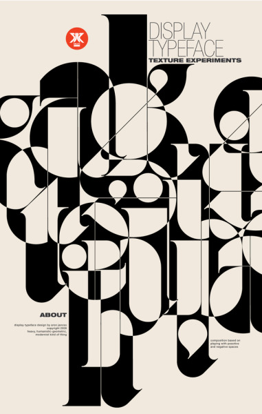 Áron Jancsó is an incredibly gifted typographer and designer. This poster was made to display his Ogaki typeface. You can see more applications as well as its characterset at his behance profile here.