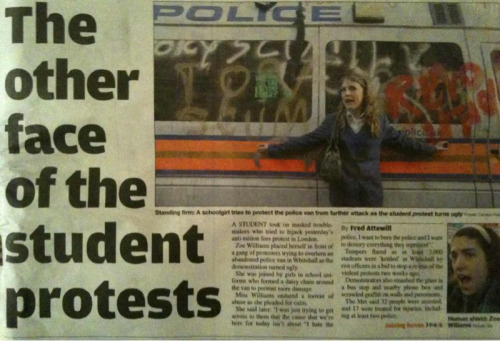 From the Metro 25/11/2010  Nearly 10000 students from all over the UK protested against the rise in tuition fees.